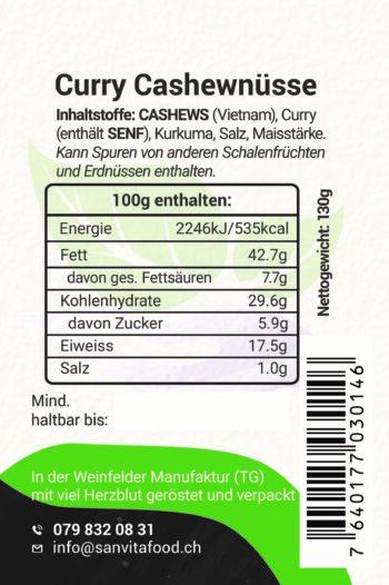 Curry-Cashewnüsse Inhaltstoffe